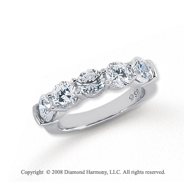Platinum 5 Stone 2 1/2 Carat Diamond Anniversary Band