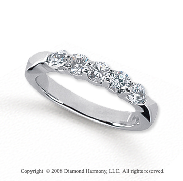 Palladium 5 Stone 3/4 Carat Diamond Anniversary Band