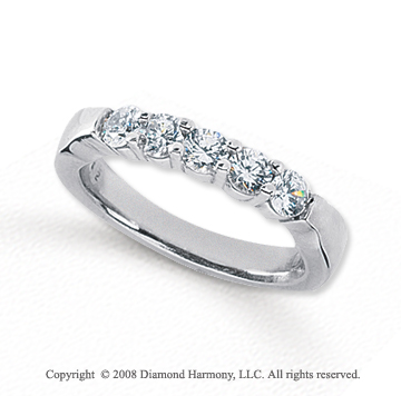 Palladium 5 Stone 1 Carat Diamond Anniversary Band