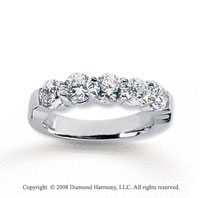 14k White Gold 5 Stone 2 Carat Diamond Anniversary Band