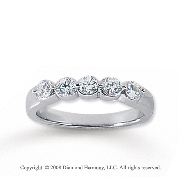 14k White Gold 5 Stone 1/2 Carat Diamond Anniversary Band