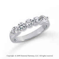 Platinum 5 Stone 1 Carat Diamond Anniversary Band