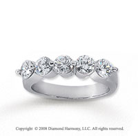 18k White Gold 5 Stone 1 1/4 Carat Diamond Anniversary Band