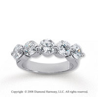 18k White Gold 5 Stone 2 1/2 Carat Diamond Anniversary Band