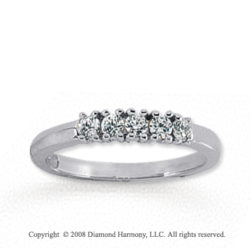 14k White Gold 5 Stone 1/4 Carat Diamond Anniversary Band