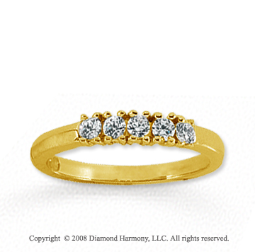 14k Yellow Gold 5 Stone 1/4 Carat Diamond Anniversary Band