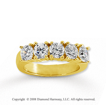 18k Yellow Gold 5 Stone 1 1/4 Carat Diamond Anniversary Band