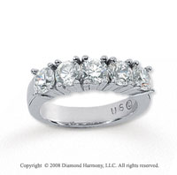 14k White Gold 5 Stone 1 3/4 Carat Diamond Anniversary Band