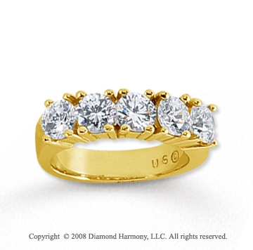 18k Yellow Gold 5 Stone 2 Carat Diamond Anniversary Band