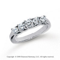 Platinum 5 Stone 1/2 Carat Diamond Anniversary Band