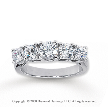 14k White Gold 5 Stone 1 1/2 Carat Diamond Anniversary Band