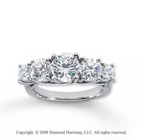 14k White Gold 5 Stone 3 Carat Diamond Anniversary Band