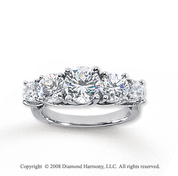 18k White Gold 5 Stone 3 Carat Diamond Anniversary Band