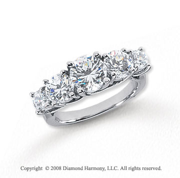 Platinum 5 Stone 3 Carat Diamond Anniversary Band