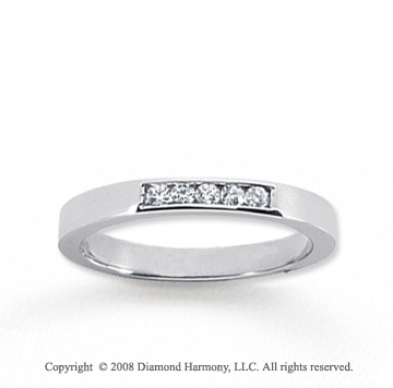 14k White Gold 5 Stone 1/10 Carat Diamond Anniversary Band