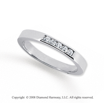 Palladium 5 Stone 1/10 Carat Diamond Anniversary Band