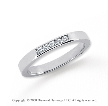 Platinum 5 Stone 1/10 Carat Diamond Anniversary Band