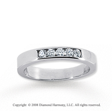 14k White Gold 5 Stone 1/6 Carat Diamond Anniversary Band