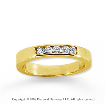 18k Yellow Gold 5 Stone 1/6 Carat Diamond Anniversary Band