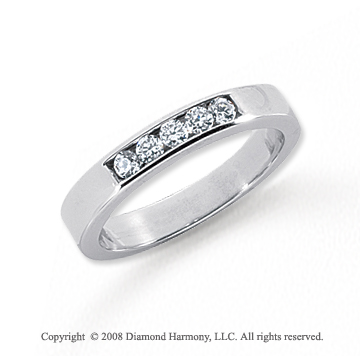 Platinum 5 Stone 1/6 Carat Diamond Anniversary Band