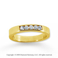 14k Yellow Gold 5 Stone 1/6 Carat Diamond Anniversary Band