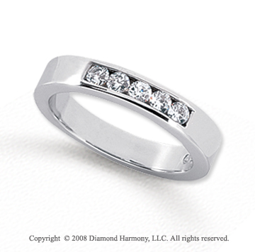 Palladium 5 Stone 1/4 Carat Diamond Anniversary Band