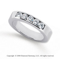 Palladium 5 Stone 1/2 Carat Diamond Anniversary Band
