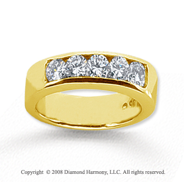 14k Yellow Gold 5 Stone 3/4 Carat Diamond Anniversary Band