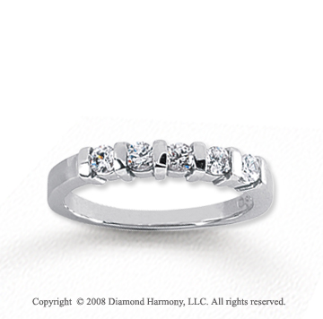 18k White Gold 5 Stone 1/3 Carat Diamond Anniversary Band