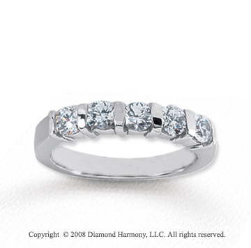 14k White Gold 5 Stone 3/4 Carat Diamond Anniversary Band