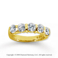 18k Yellow Gold 5 Stone 1 1/2 Carat Diamond Anniversary Band