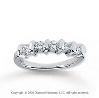 18k White Gold 5 Stone 1/2 Carat Diamond Anniversary Band