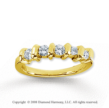 18k Yellow Gold 5 Stone 1/2 Carat Diamond Anniversary Band
