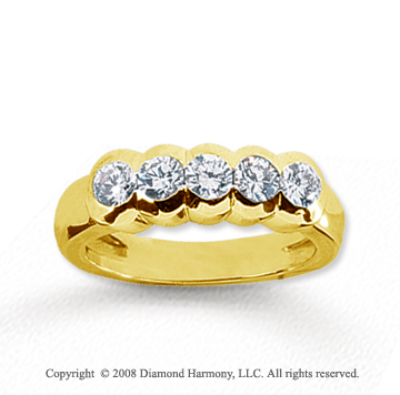 18k Yellow Gold 5 Stone 3/4 Carat Diamond Anniversary Band