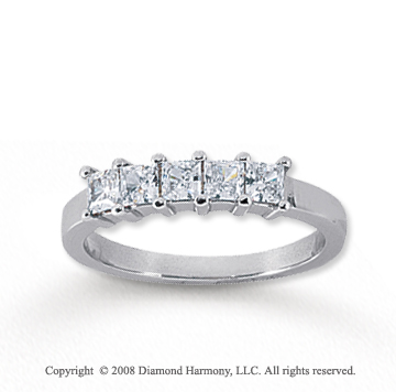 18k White Gold 5 Stone 3/4 Carat Diamond Anniversary Band