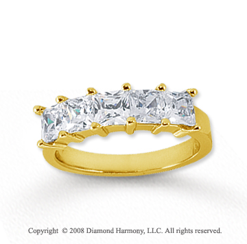 14k Yellow Gold 5 Stone 2 Carat Diamond Anniversary Band