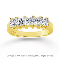 14k Yellow Gold 5 Stone 1 1/2 Carat Diamond Anniversary Band
