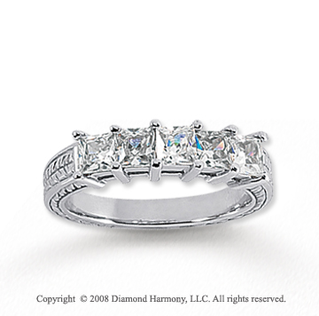 14k White Gold 5 Stone 1 1/4 Carat Diamond Anniversary Band