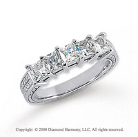 Platinum 5 Stone 1 1/4 Carat Diamond Anniversary Band