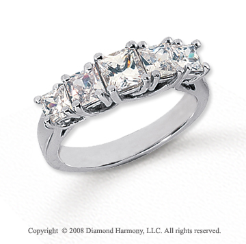 Platinum 5 Stone 1 3/4 Carat Diamond Anniversary Band