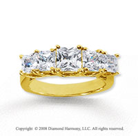18k Yellow Gold 5 Stone 3 Carat Diamond Anniversary Band