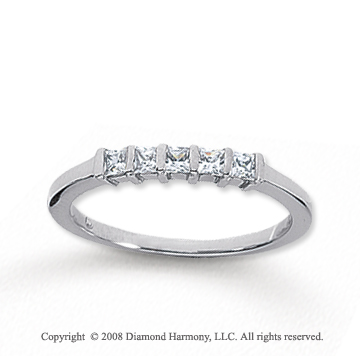 14k White Gold 5 Stone 1/3 Carat Diamond Anniversary Band