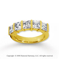 14k Yellow Gold 5 Stone 2 1/2 Carat Diamond Anniversary Band