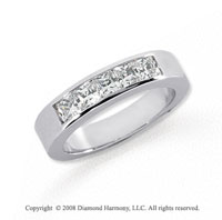 Platinum 5 Stone 3/4 Carat Diamond Anniversary Band