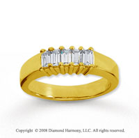 14k Yellow Gold 5 Stone 1/2 Carat Diamond Anniversary Band