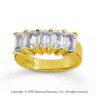 18k Yellow Gold 5 Stone 5 Carat Diamond Anniversary Band