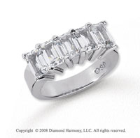 Platinum 5 Stone 5 Carat Diamond Anniversary Band
