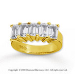 14k Yellow Gold 5 Stone 5 Carat Diamond Anniversary Band