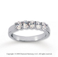 18k White Gold 5 Stone 1 Carat Diamond Anniversary Band