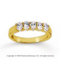 14k Yellow Gold 5 Stone 1 Carat Diamond Anniversary Band